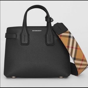 NWT Burberry Small Banner Tote Black Vintage Check